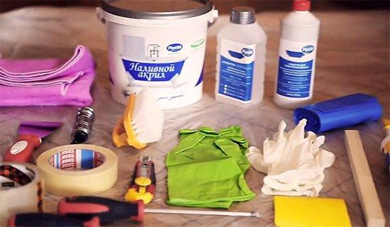 Набор материалов и инструментов для самостоятельной реставрации ванны акрилом